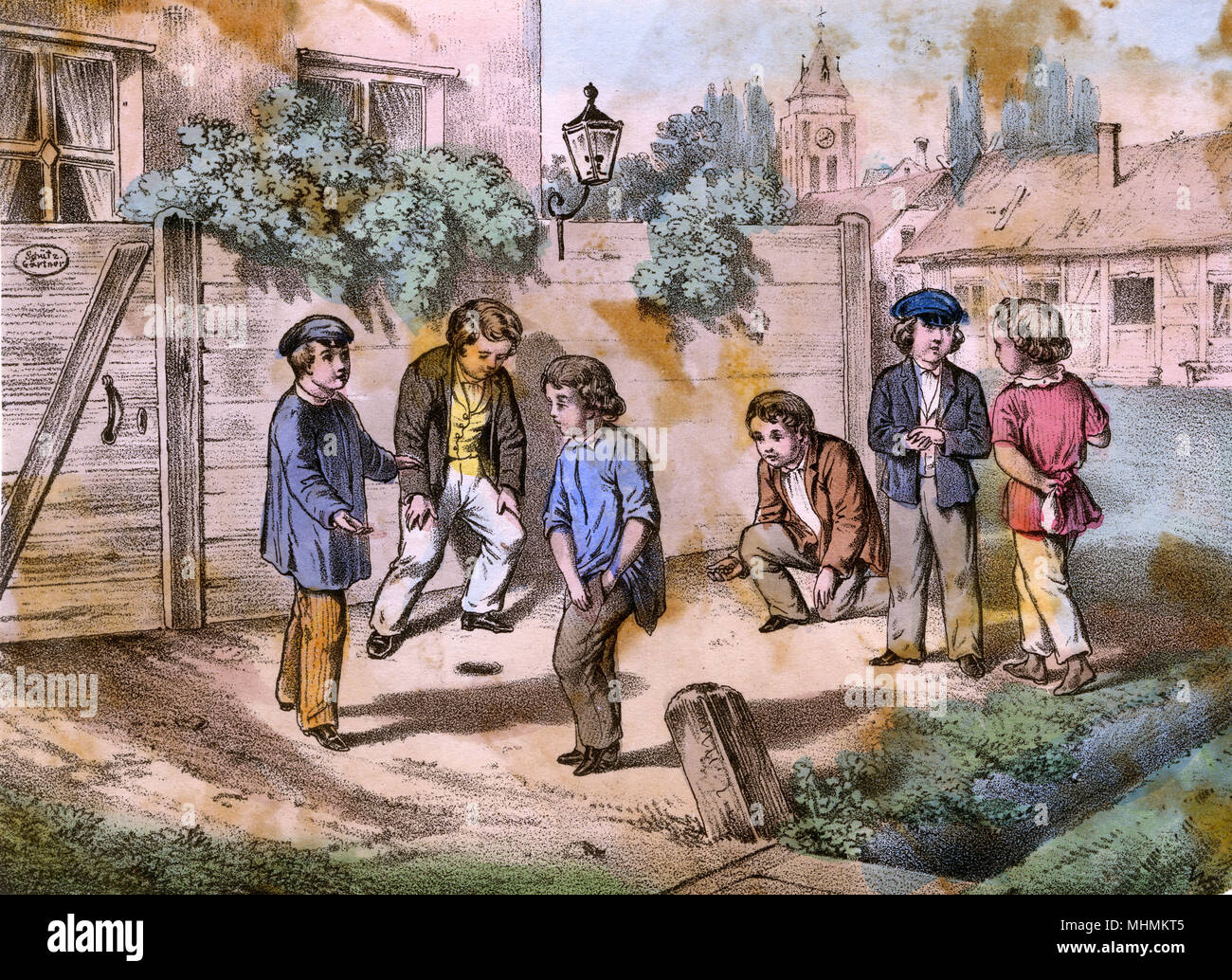 Six boys playing marbles       Date: early 19th century - Stock Image