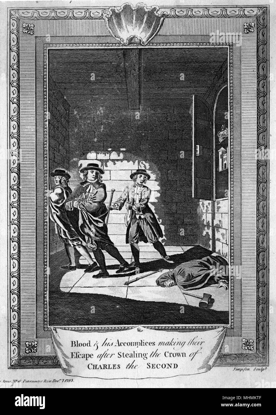 Blood & his accomplices making their escape after stealing the crown of Charles II from the Tower...      Date: Seventeenth century - Stock Image
