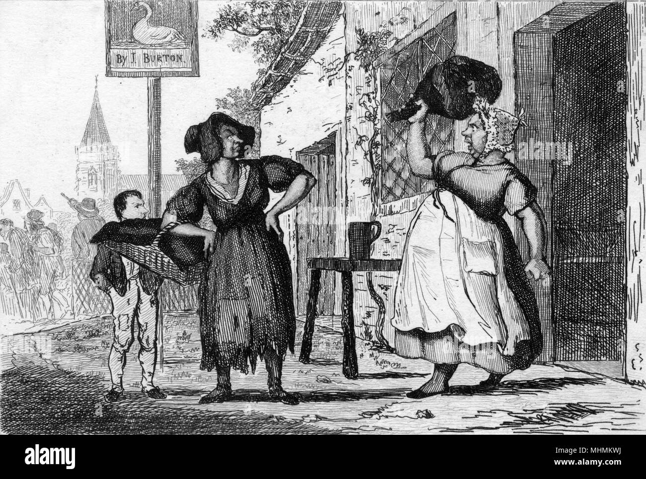 Ladies at an entrance to a hostelry, one brandishing a large ham...       Date: 1836 - Stock Image
