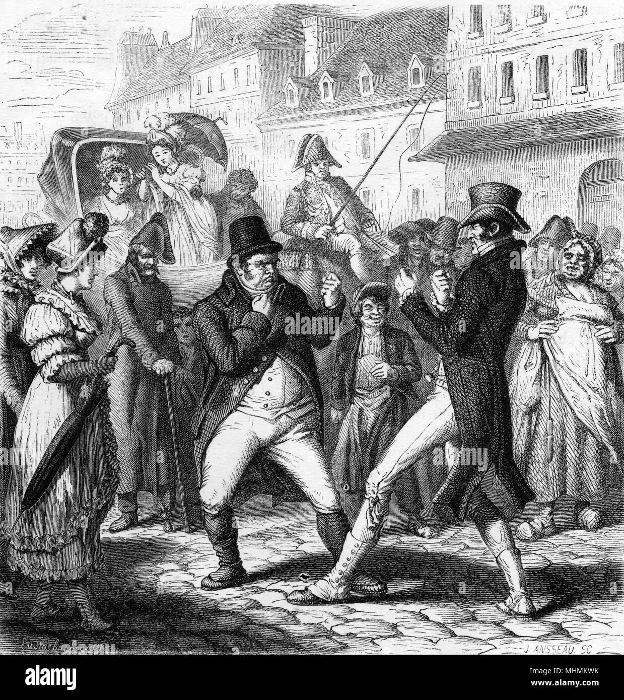 Street fight: two gentlemen brandish fists at each other in front of a large crowd, Paris.     Date: C.1820 - Stock Image