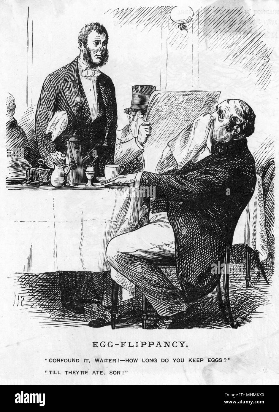 """""""Confound it, waiter! How long do you keep eggs?"""" """"Till they're ate sor!""""      Date: 1877 Stock Photo"""