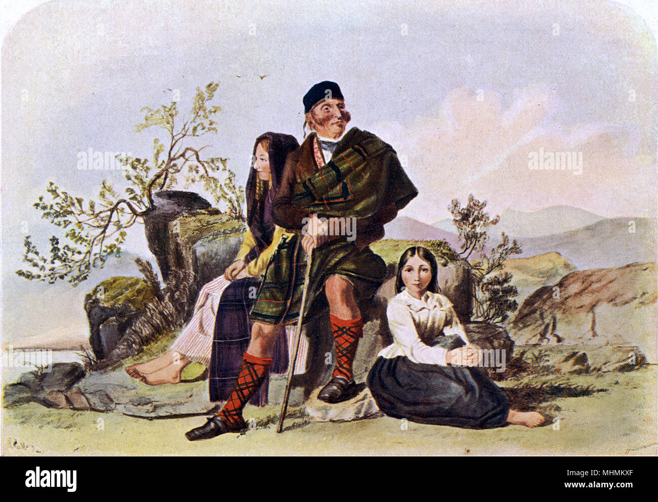 Portrait of the outlaw Ewen Macphee & his family.       Date: 1848 - Stock Image