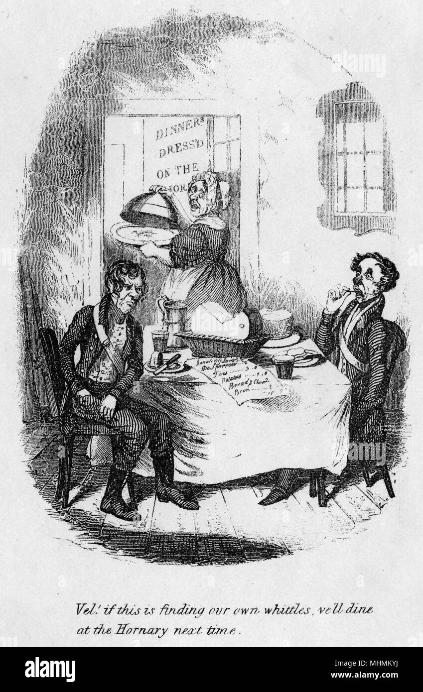Two diners look horrified at the sight of their meal bill.       Date: circa 1836 - Stock Image