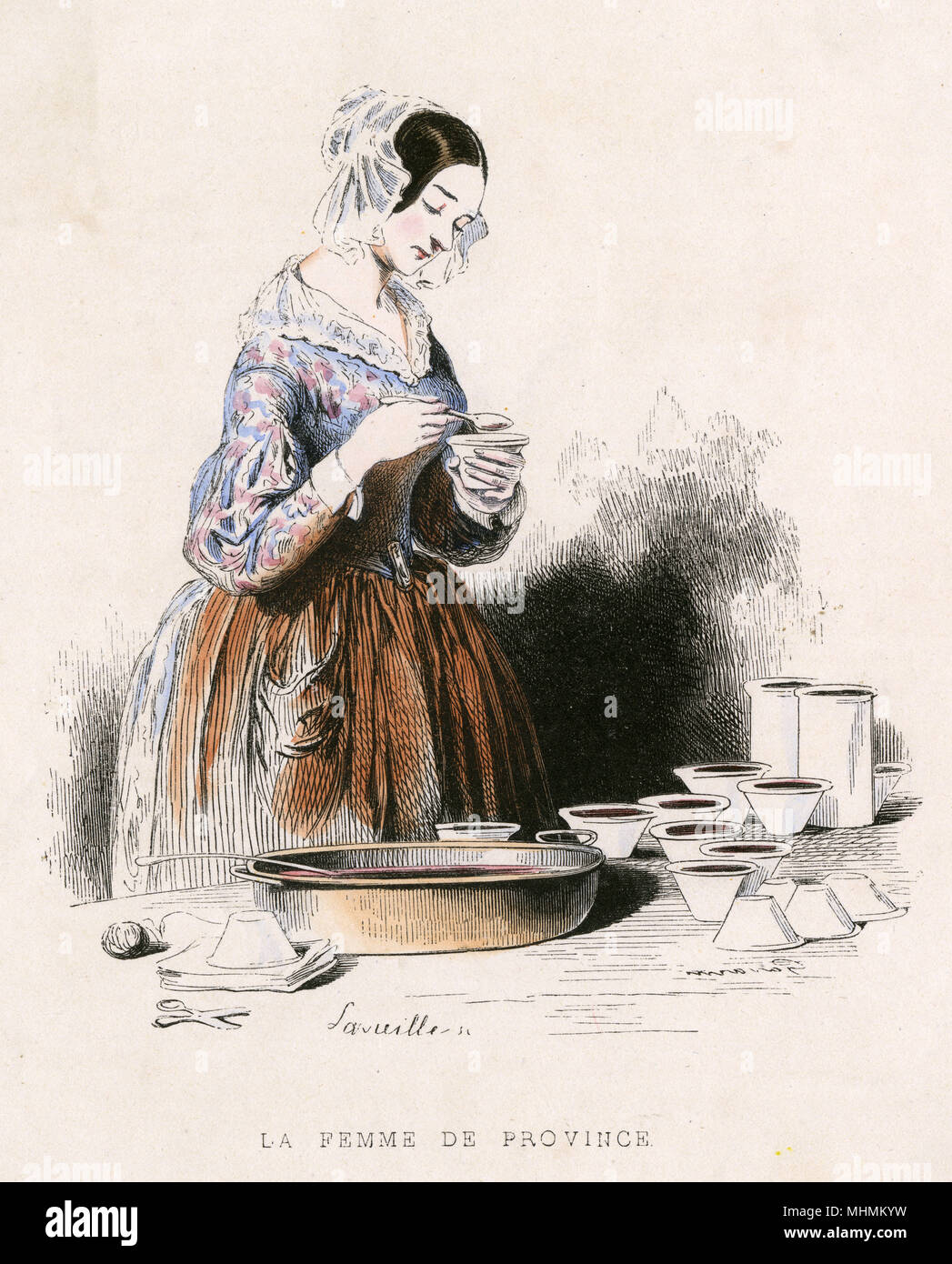 A French housewife makes preserves.       Date: 1851 - Stock Image