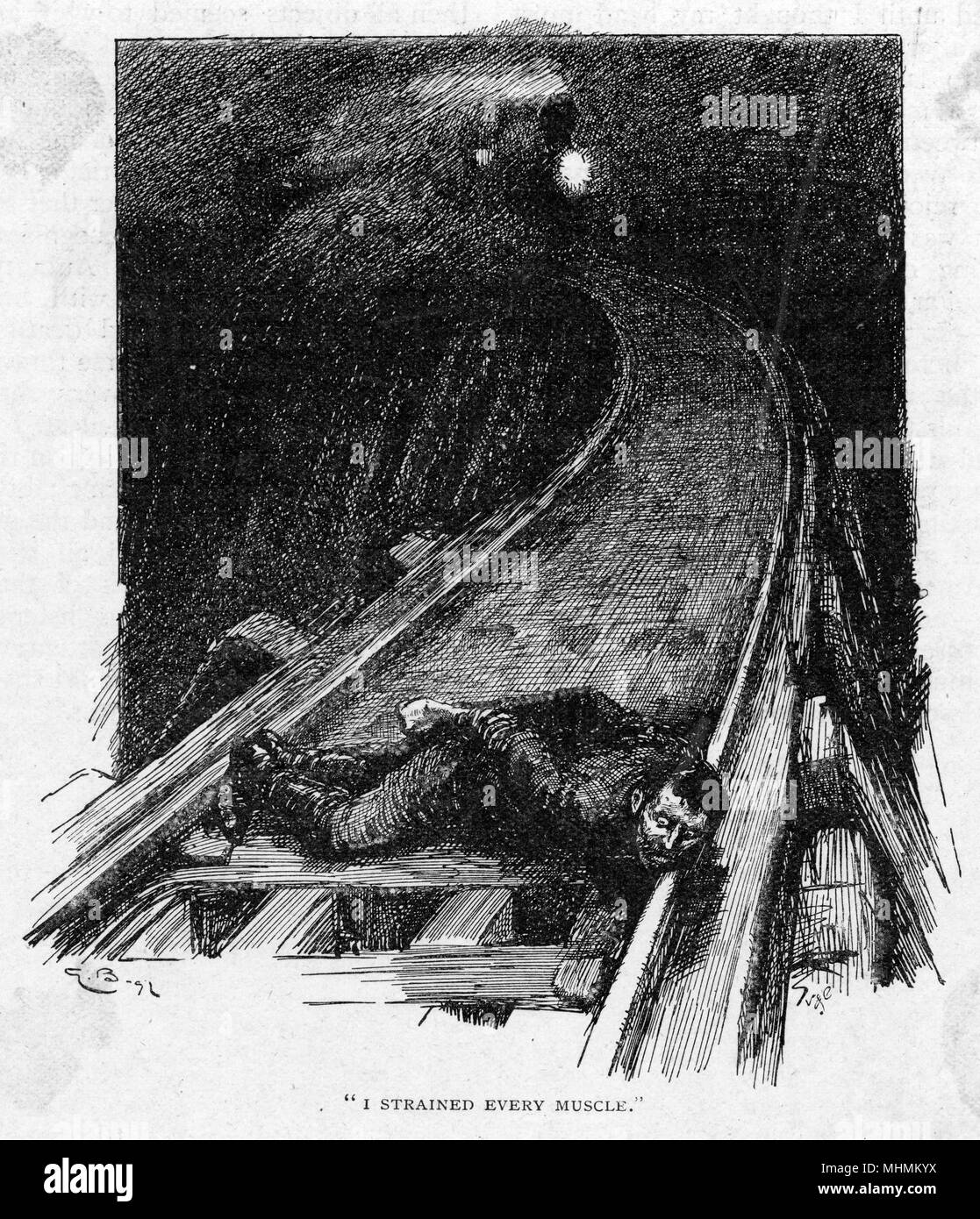An unfortunate gentleman has been tied to the railroad tracks , with malicious intent. A train is rushing through the night towards him - will he escape or not ?     Date: 1896 - Stock Image
