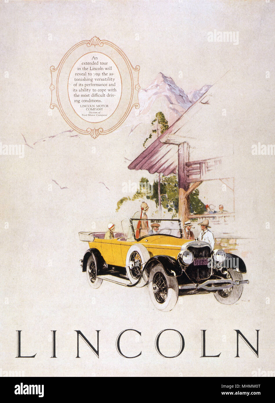 A Lincoln convertible.       Date: 1925 - Stock Image