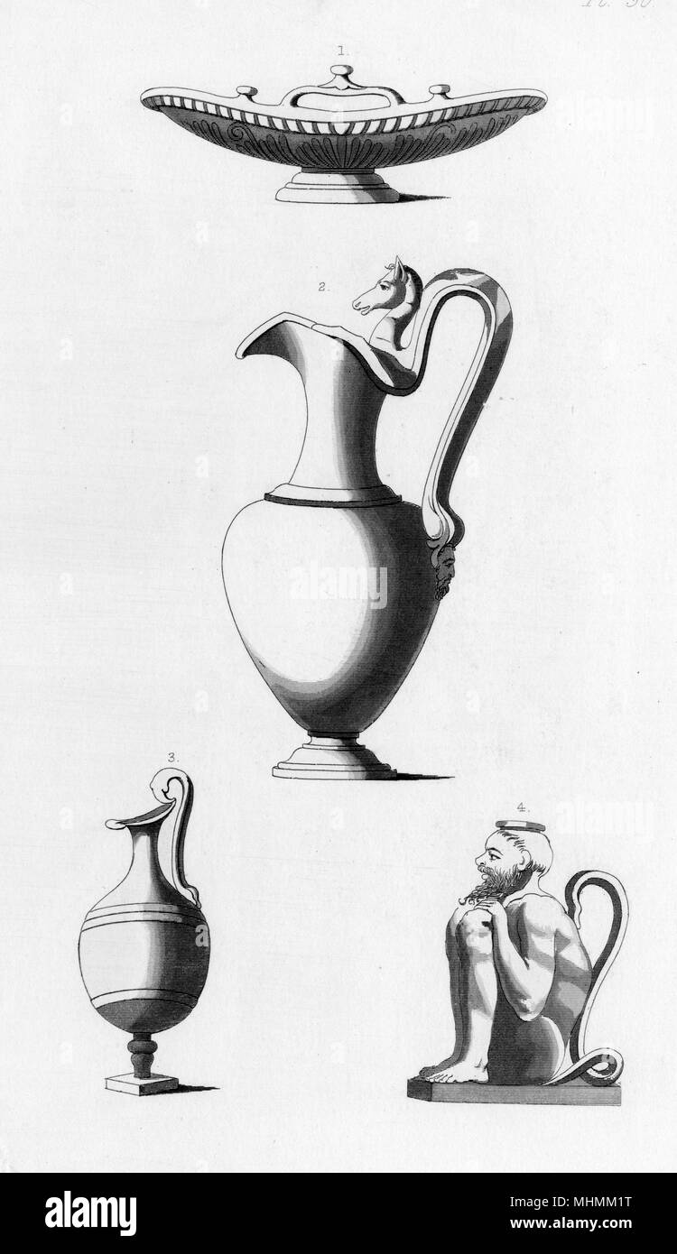 Four types of Roman wine vessels.       Date: ancient - Stock Image