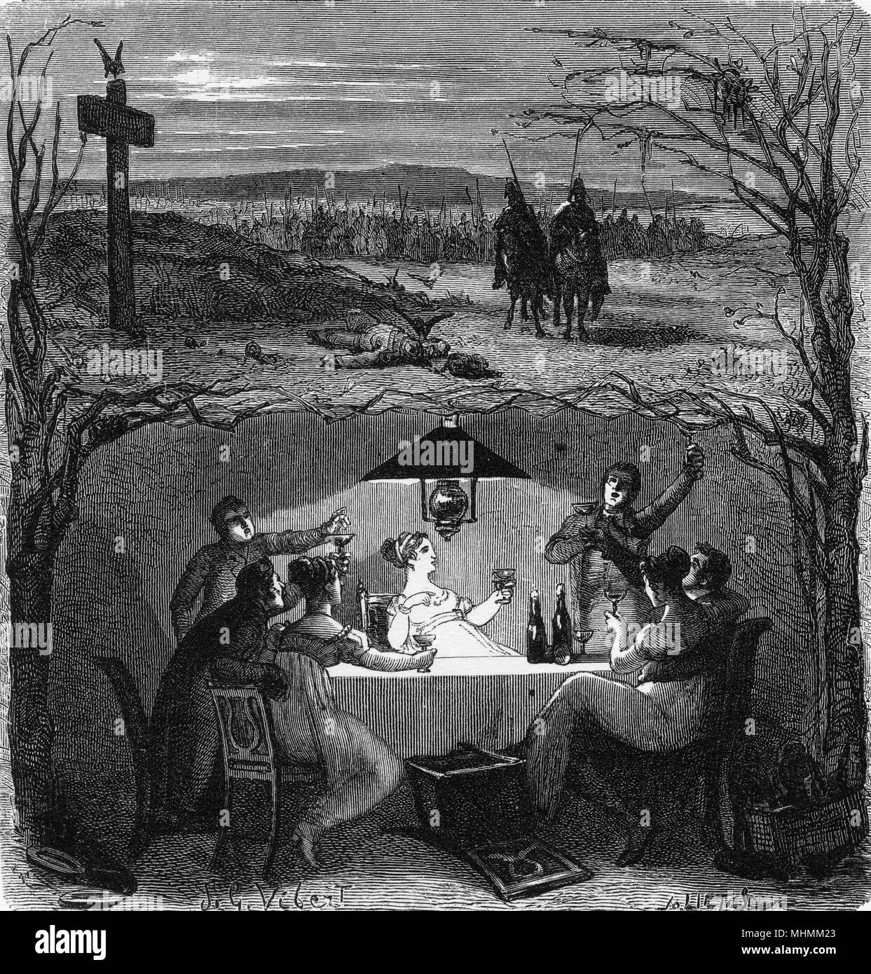 Let's drink today, for tomorrow we may die...       Date: 1866 - Stock Image