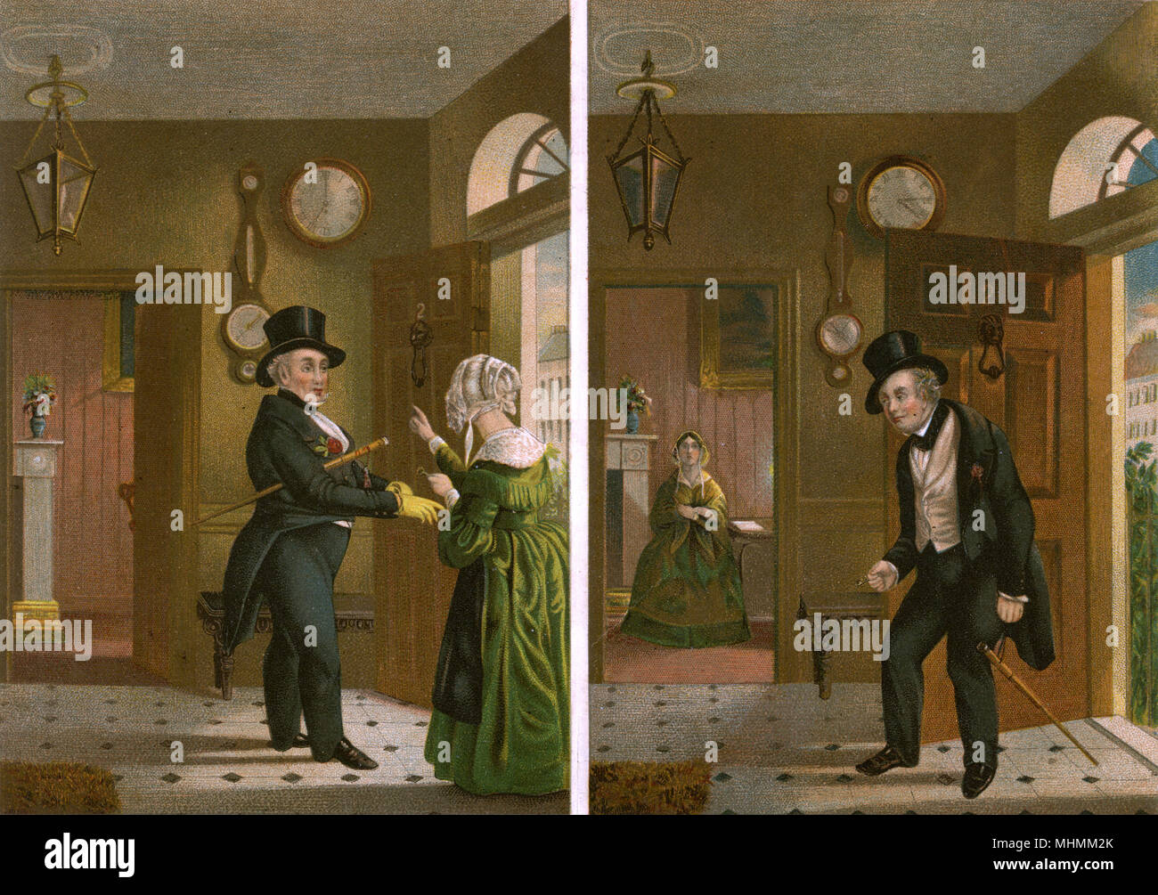 Despite being told not to stay out drinking by his wife, a husband returns several hours later in an intoxicated state, with his wife waiting up for him.     Date: mid-19th century - Stock Image
