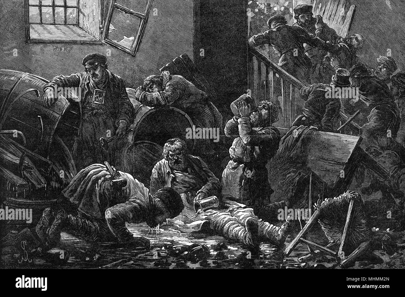 Thirsty Russians plunder a brandy shop in Kiev and drink as much of its stock as they can.      Date: 1881 Stock Photo