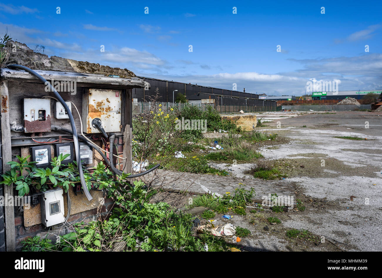 Old electrical switch and fuses on an abandoned industrial site. Stock Photo