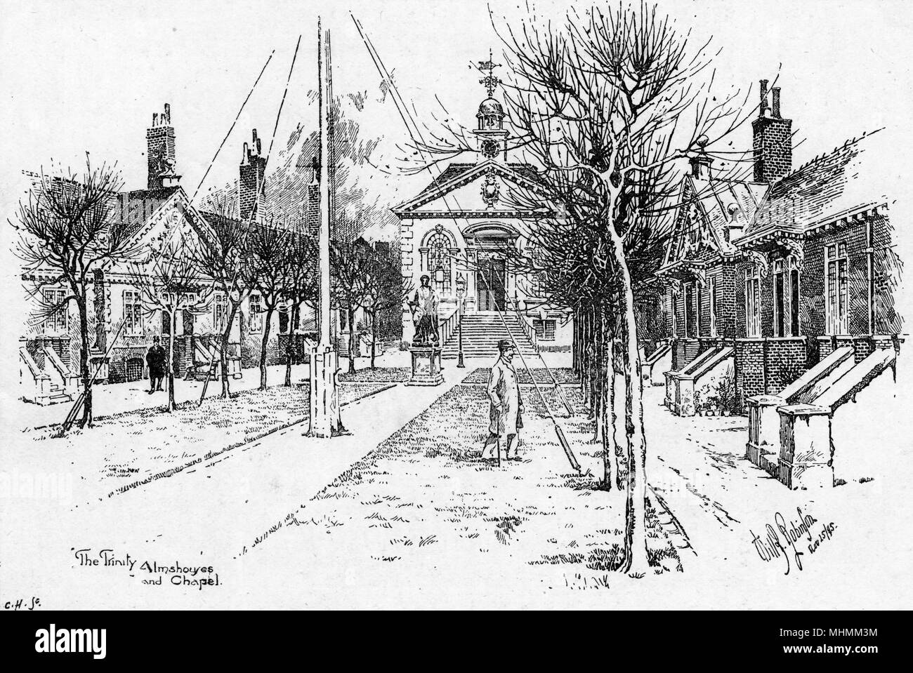 The Trinity Almshouses at Mile End : that's the chapel, straight ahead, with the residential buildings on either side of the avenue.     Date: 1895 - Stock Image