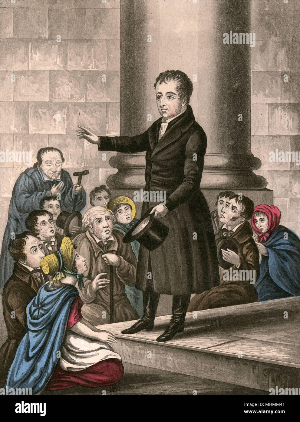 The Very Reverend Theobald Mathew administers the temperance pledge to churchgoers.      Date: circa 1840 - Stock Image
