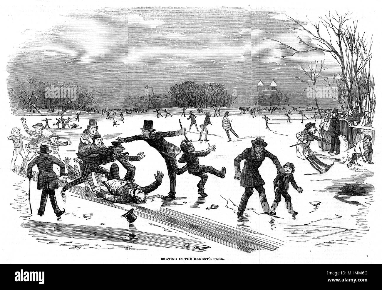 Skating on the frozen Regent's Canal, in Regent's Park, London : boys have set up a slide on which a portly gentleman has come a cropper, also losing his topper.     Date: 1854 - Stock Image
