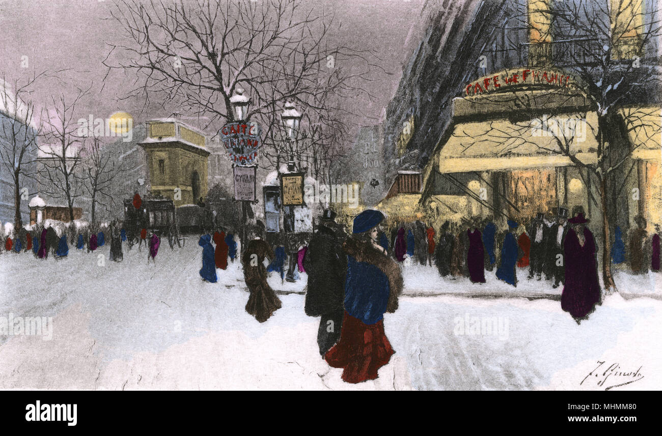 Snow in the streets of Paris - specifically, at the Porte Saint Martin on the Grands Boulevards.      Date: circa 1890 - Stock Image