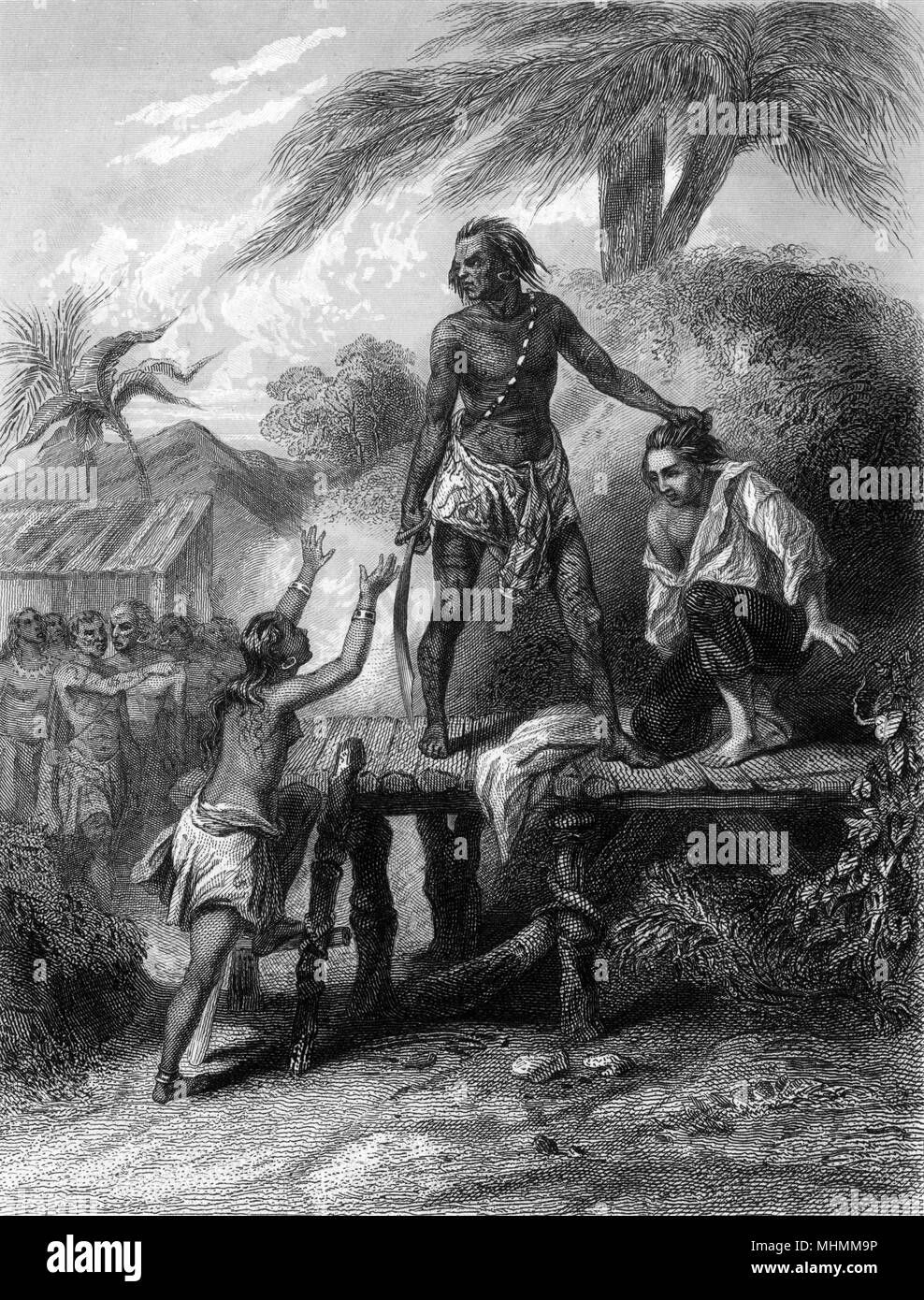An Englishman named Boulton is about to be beheaded by a native of Borneo when a young native girl intercedes on his behalf - doubtless there's a romantic tale associated...     Date: probably 18th century - Stock Image