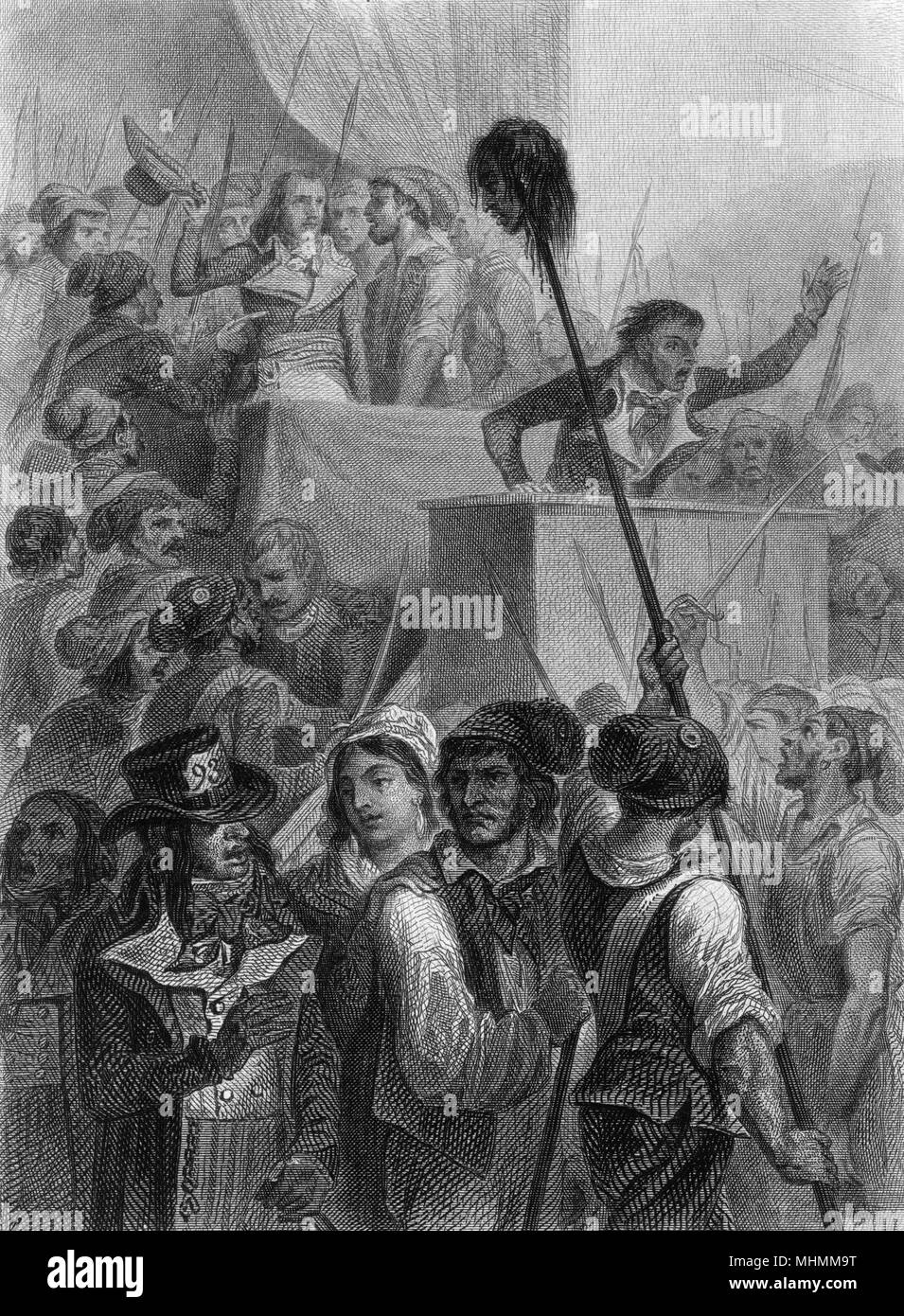 Jean Feraud (or Ferraud), member of the Convention and opponent of Robespierre, is assassinated at the entrance to the Convention, where his head is saluted.     Date: 20 May 1795 - Stock Image