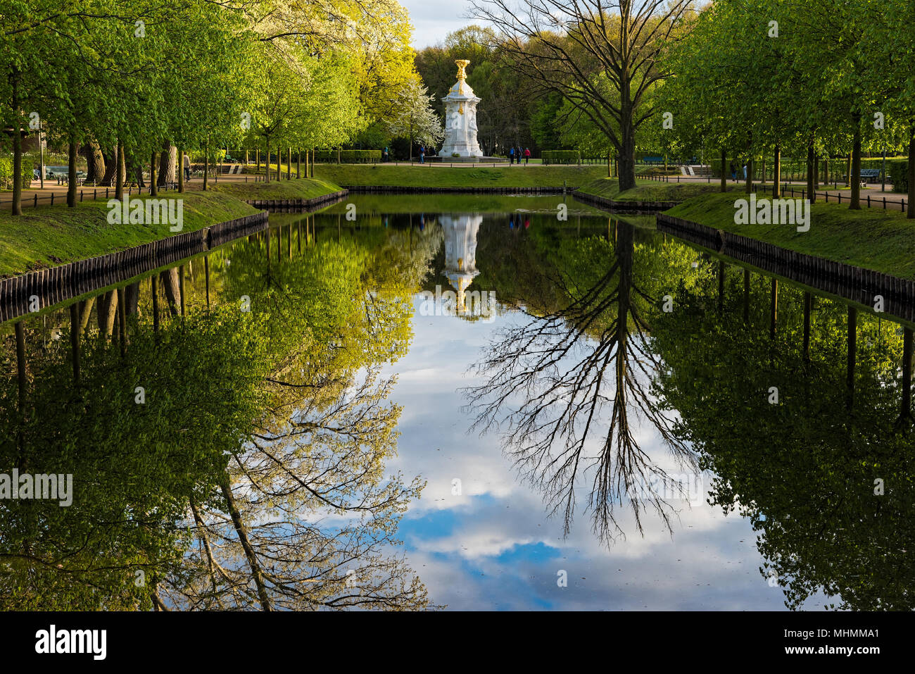 View of the Steppengarten Park with the Beethoven-Haydn-Mozart Memorial in Berlin, Germany - Stock Image