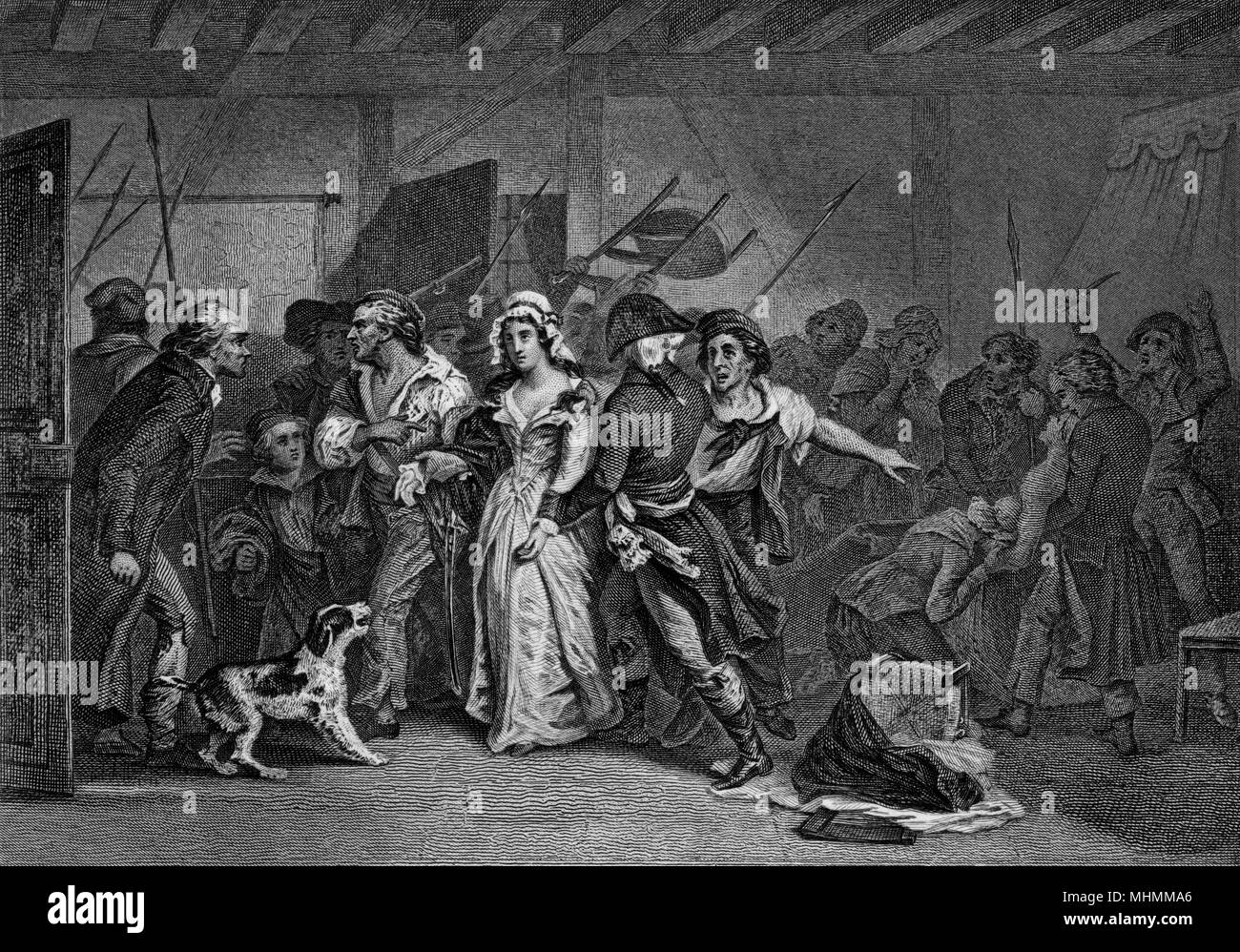 Charlotte Corday, who opposes the Montagnard extremists, assassinates their leader, Marat : she kills him in his bath, for which she will herself be executed.     Date: 13 July 1793 Stock Photo