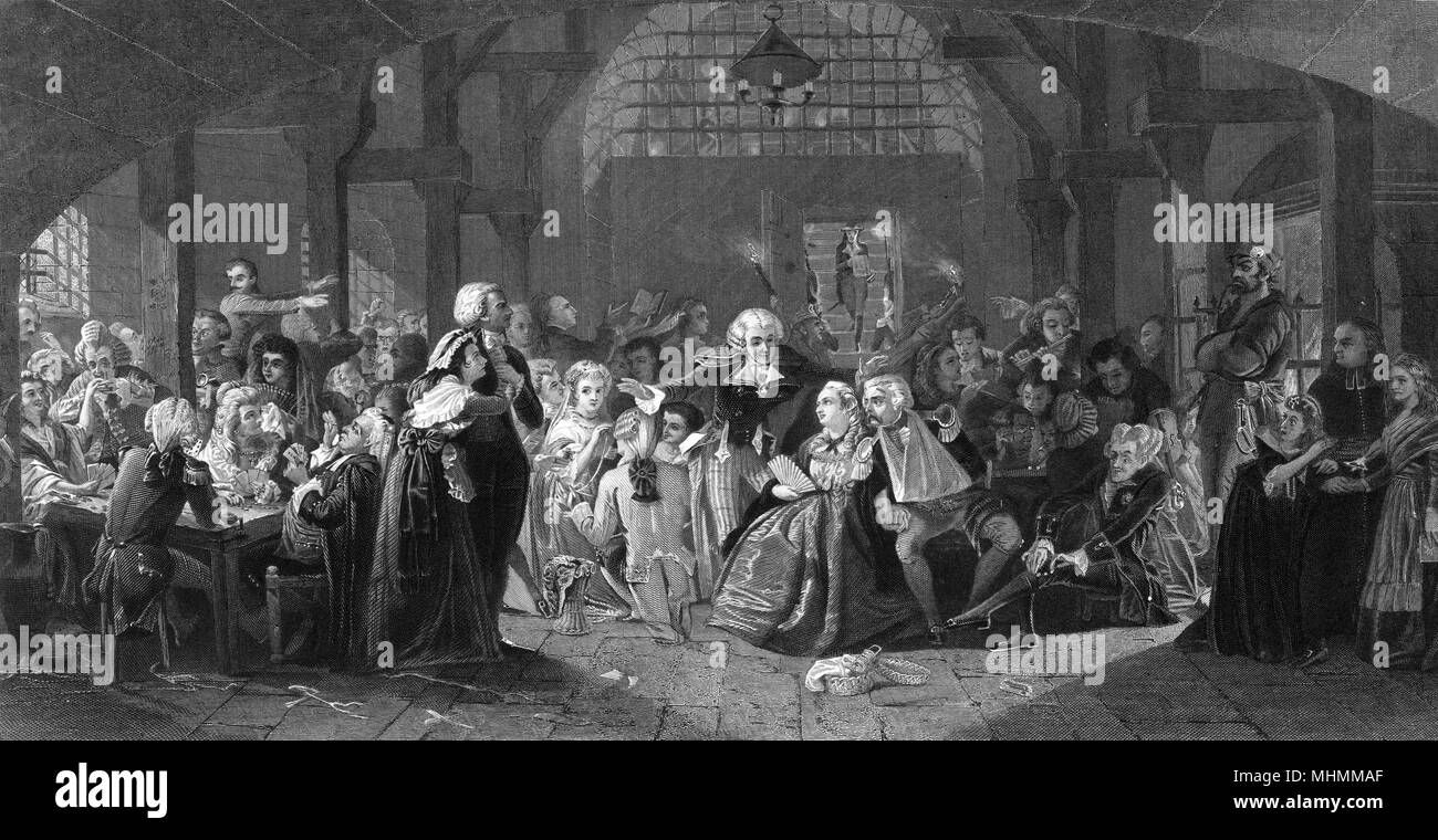 THE REIGN OF TERROR : Aristocrats and other opponents of the Revolution wait in prison until it's their turn to be carted to the guillotine.     Date: 1793 - 1794 - Stock Image