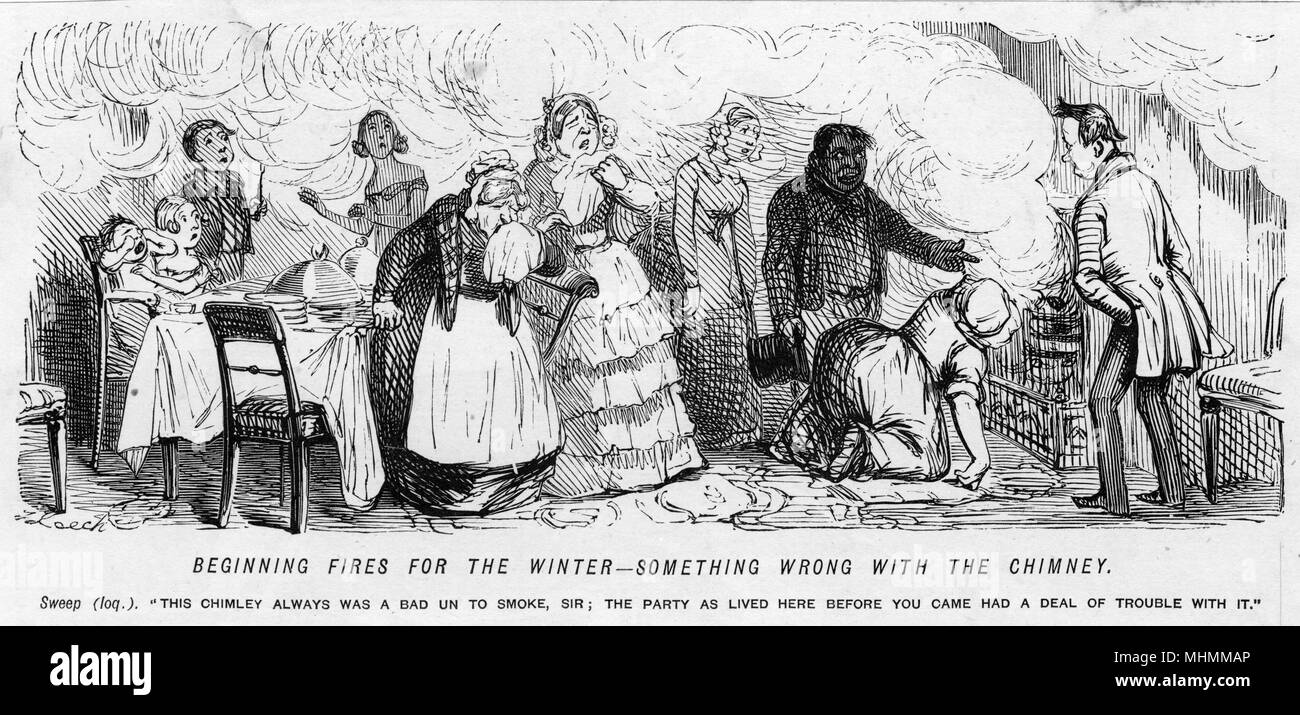'Beginning fires for the winter - something wrong with the chimney': a blocked chimney pours smoke back into the room causing people to cough and choke     Date: circa 1850 - Stock Image