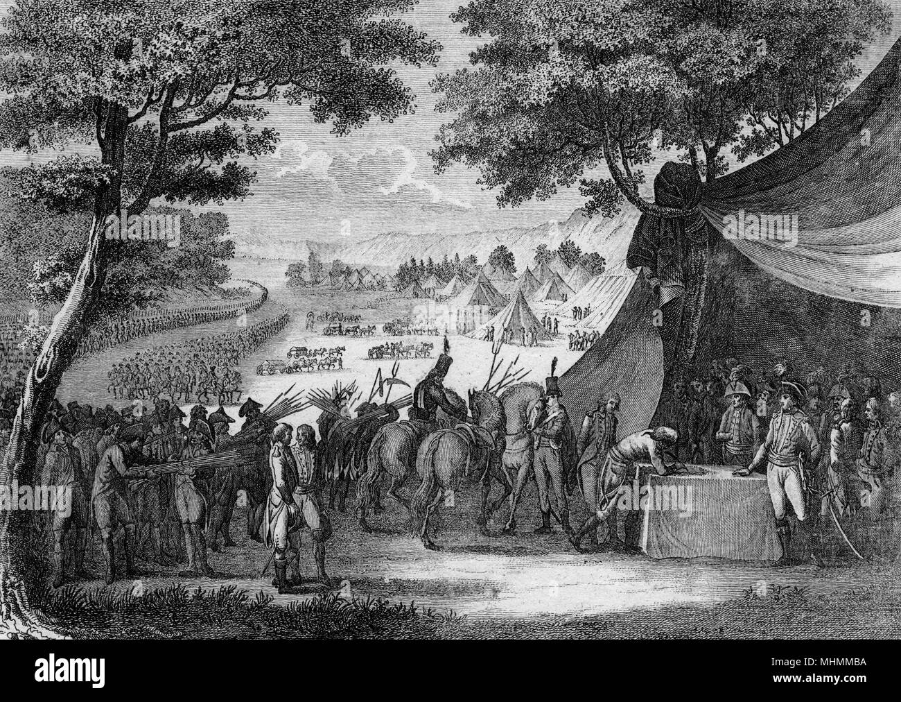 The end of the Vendee war - Hoche signs a treaty with the Bretons ; henceforward the west is officially peaceful, though most retain their anti- republican sympathies.     Date: 20 April 1795 - Stock Image