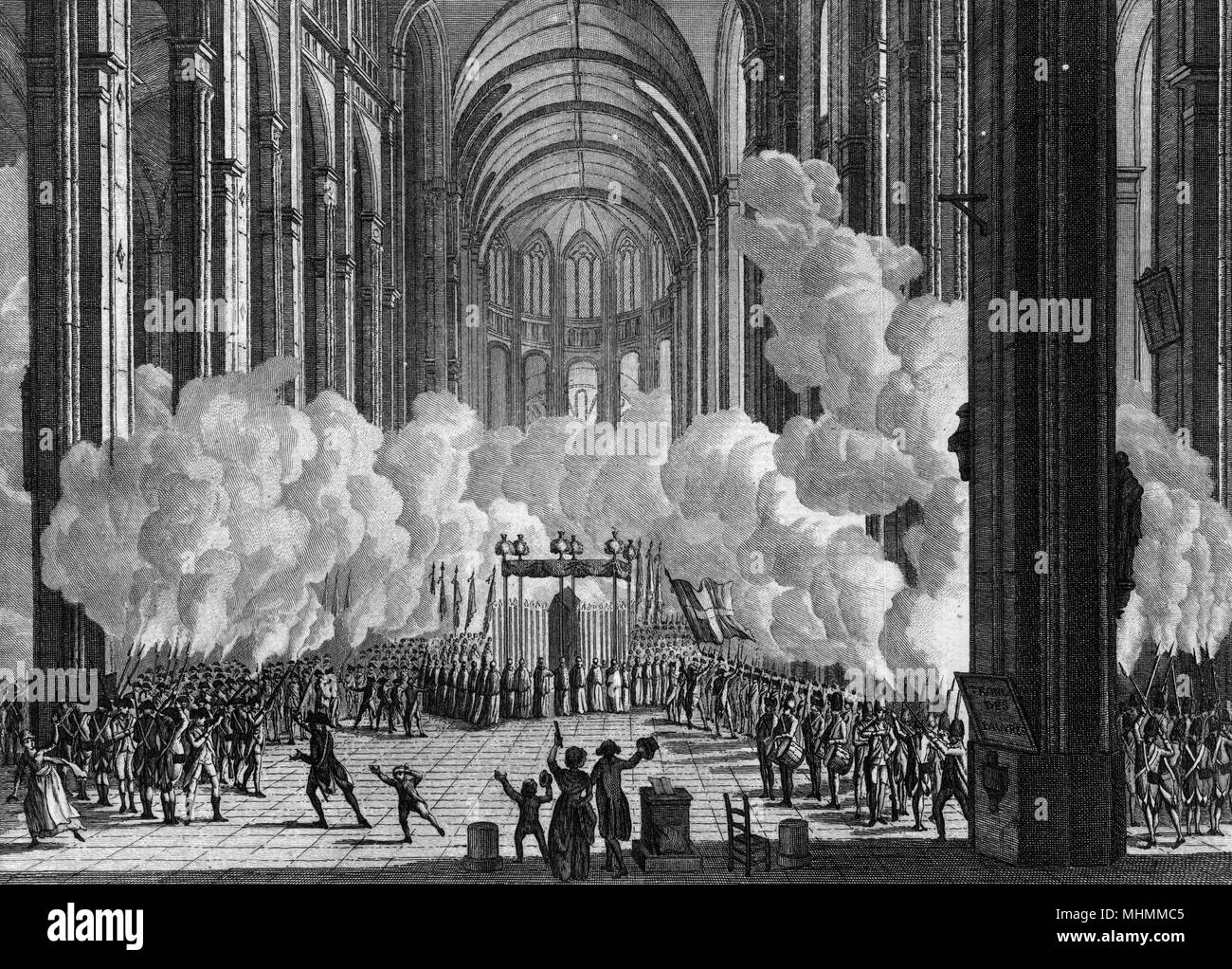 The body of Mirabeau, regarded as a hero of the Revolution, is treated to a salvo of musketry in the church of Saint-Eustache, Paris.      Date: 4 April 1791 - Stock Image