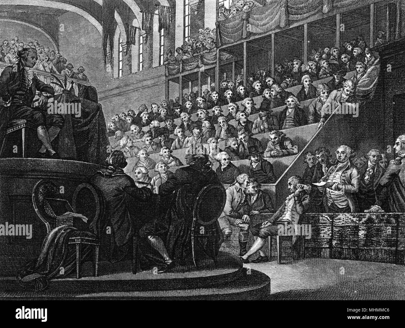 Louis XVI - known as citoyen Louis Capet - appears before the Convention Nationale to hear the charges brought against him. He will be found guilty and condemned to die.     Date: 25 December 1792 - Stock Image