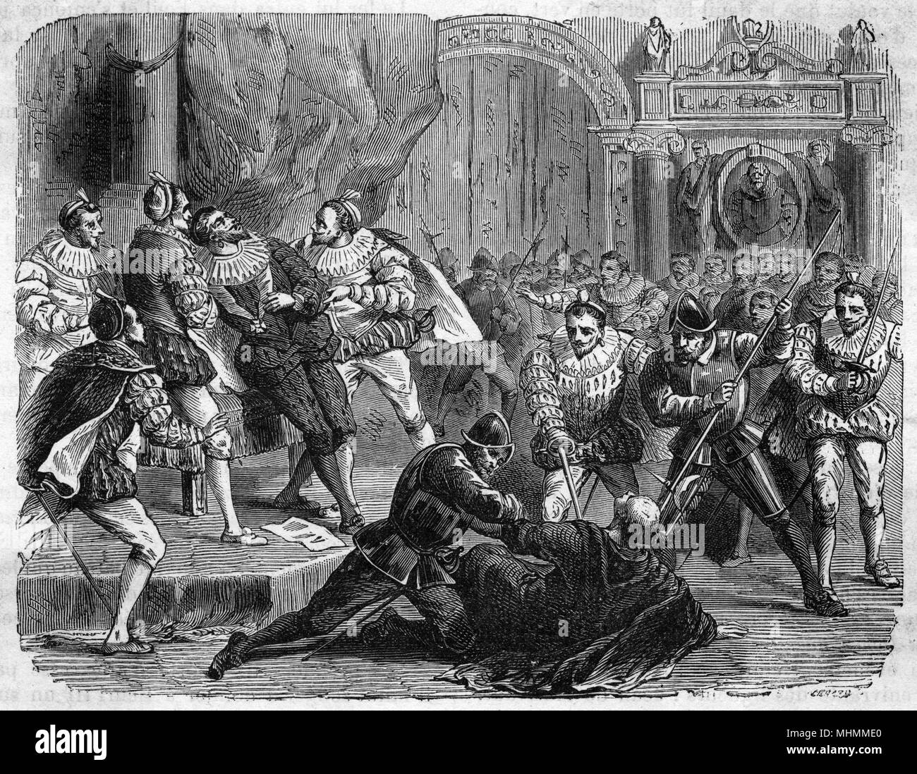 Henri III, at odds not only with the Protestants but also with the Catholic League, is assassinated by a fanatical monk, Jacques Clement, at the instigation of the League.     Date: 1 August 1589 - Stock Image