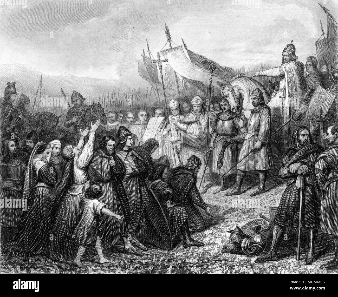 Wittekind (variously spelt), leader of the Saxons, submits to Charlemagne and is baptised at Attigny.      Date: 777 - Stock Image