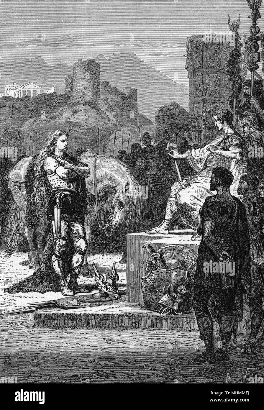 GALLIC WARS : Vercingetorix is finally defeated by Caesar ; he will be taken prisoner to Rome, where he will be executed.      Date: 52 BCE Stock Photo