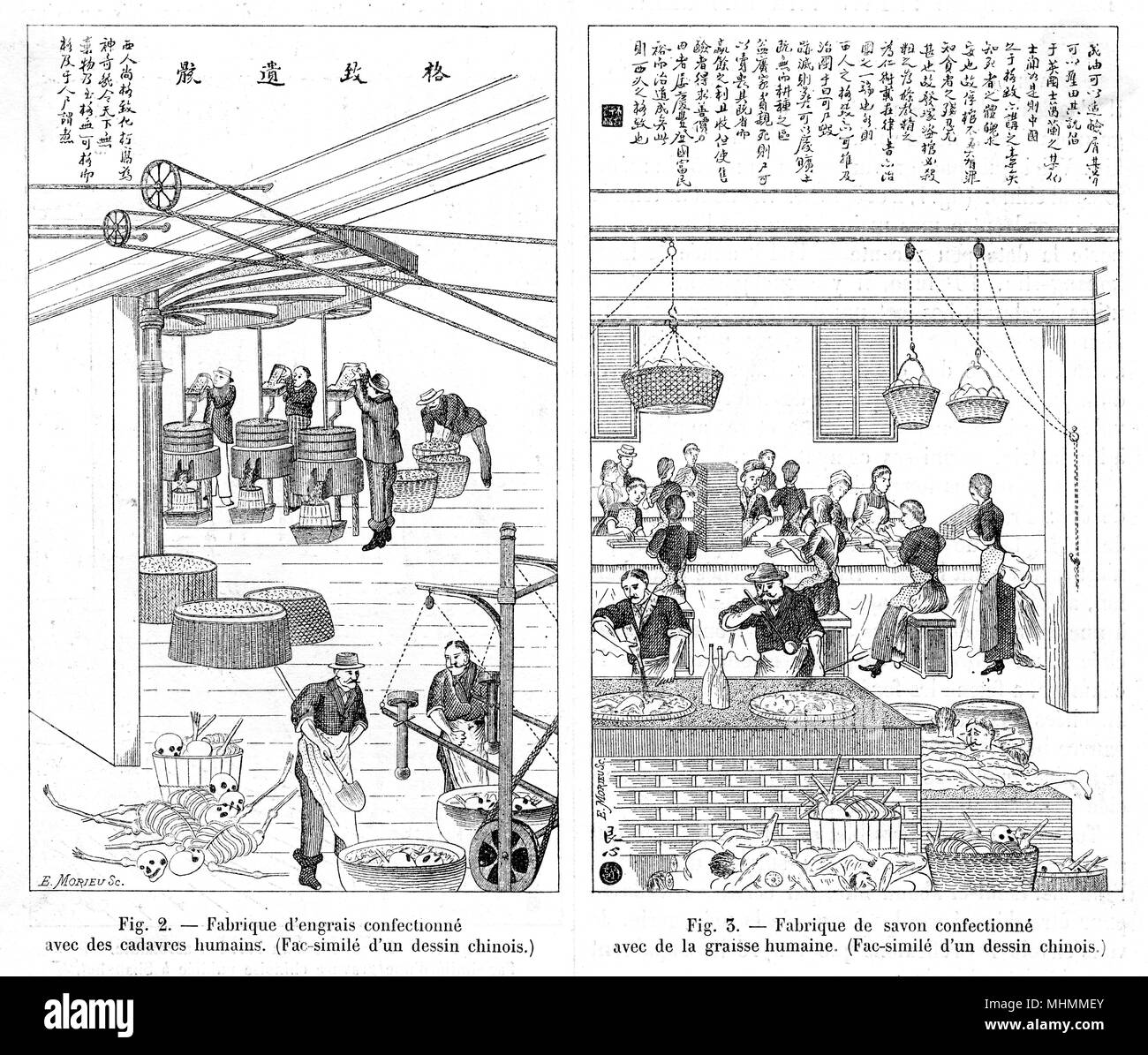 Chinese propaganda against the French depicting them making fat from human bodies and then using the fat to make soap      Date: 1892 - Stock Image
