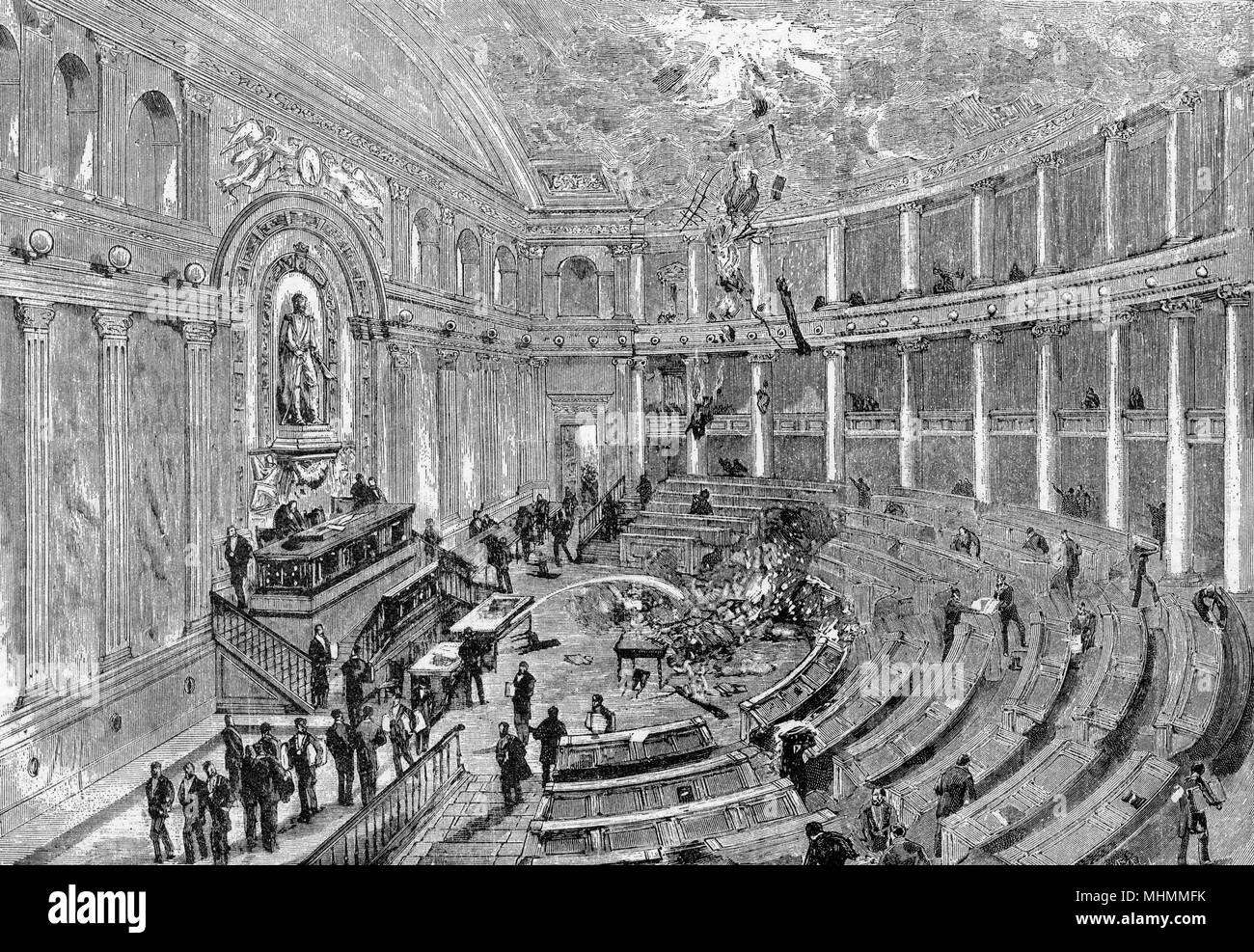 Fire accidentally breaks out in the Chamber of Deputies, Rome.       Date: 1883 Stock Photo