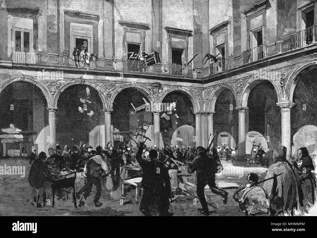 Two years of unrest and protest by the 'Fasci Siciliani' culminate in violence : government offices are ransacked by the mob.      Date: January 1894 - Stock Image