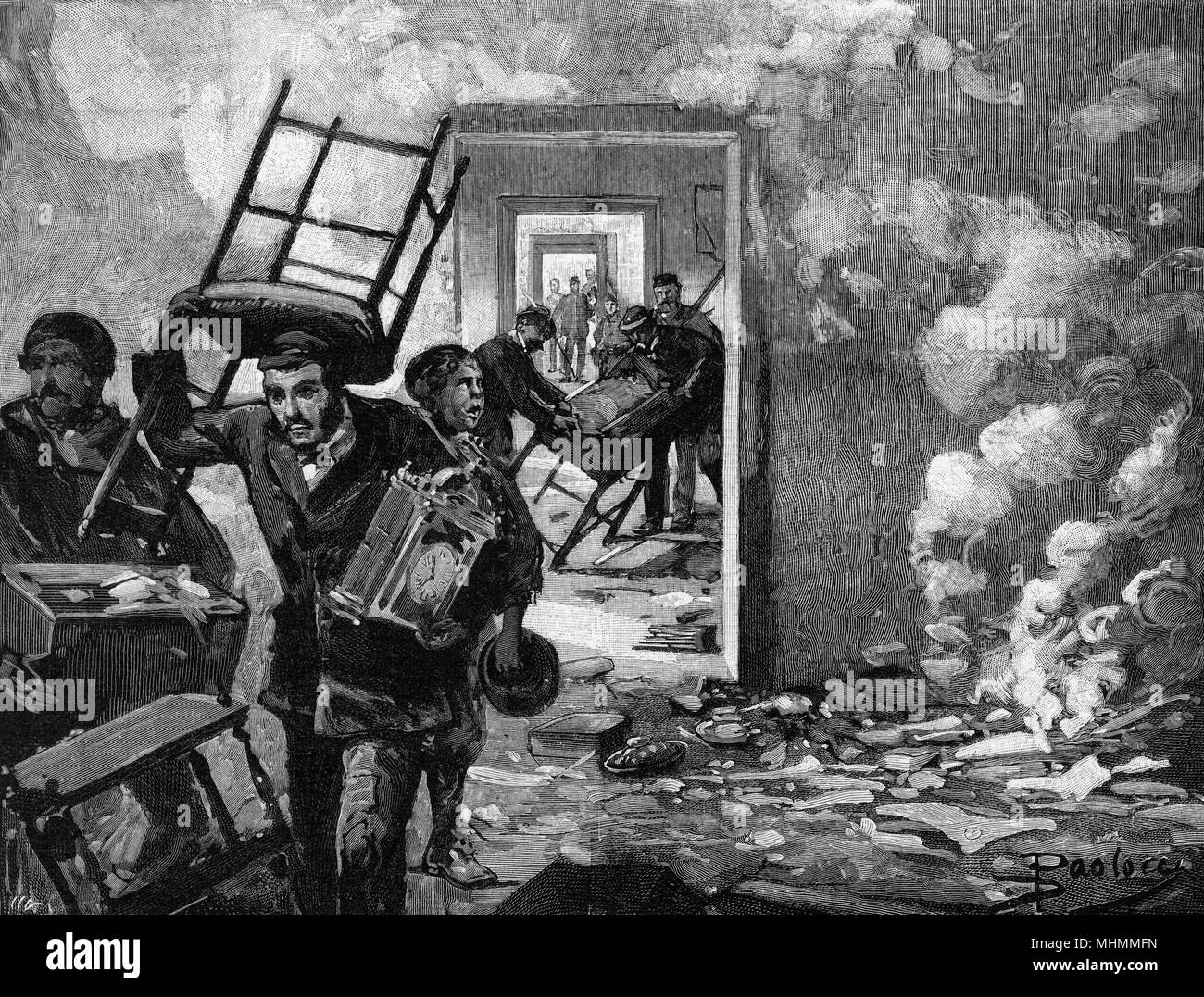 Following two years of unrest and protest by the 'Fasci Siciliani', violence erupts : government offices at Mazzara del Vallo are ransacked by the mob.     Date: January 1894 - Stock Image