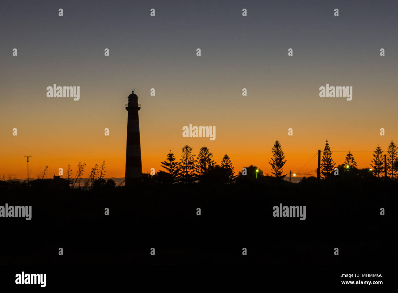 Point Moore lighthouse in Geraldton during the sunset, Western Australia. - Stock Image