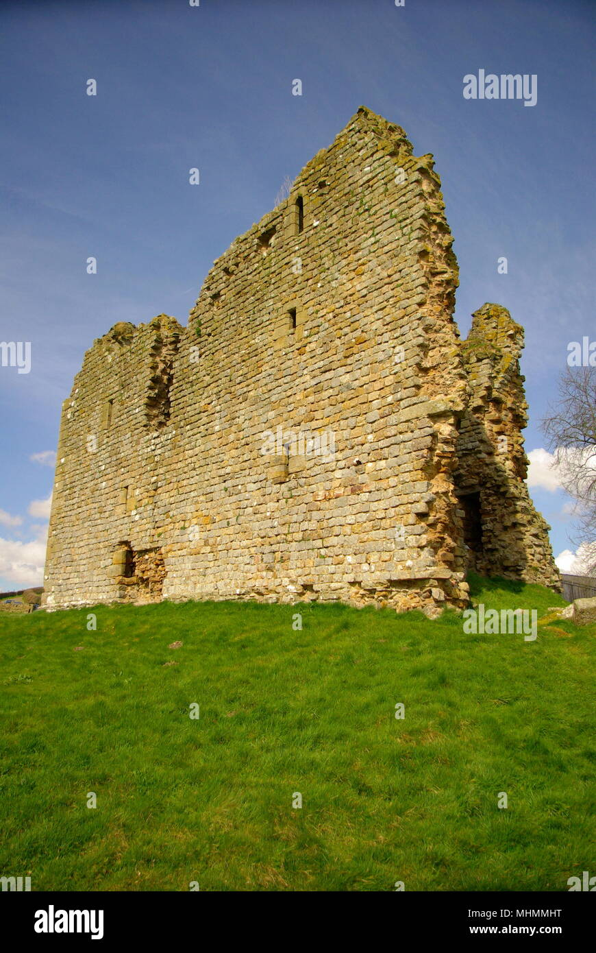 View of Thirlwall Castle, Greenhead, Northumberland.  The castle is an early 14th century stone building, built entirely of Roman masonry from Hadrian's Wall.       Date: April 2009 - Stock Image