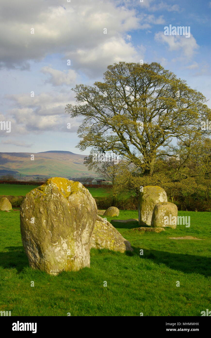 """Long Meg and Her Daughters, near Penrith and Little Salkeld, Cumbria.  This is the third largest stone circle in England, composed of an oval ring measuring 300 by 360 feet, and several large outlying stones, the largest and tallest of these being Long Meg, the """"mother stone"""" (not visible in this picture).       Date: April 2009 - Stock Image"""