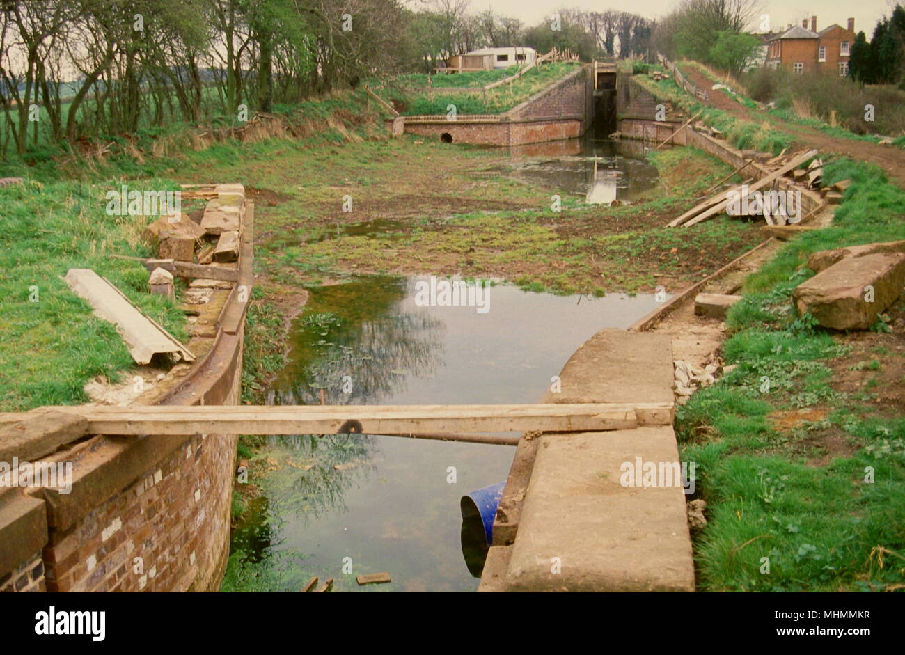 View of a lock on the Droitwich Canal at Hanbury, prior to restoration work being carried out.       Date: 1989 - Stock Image