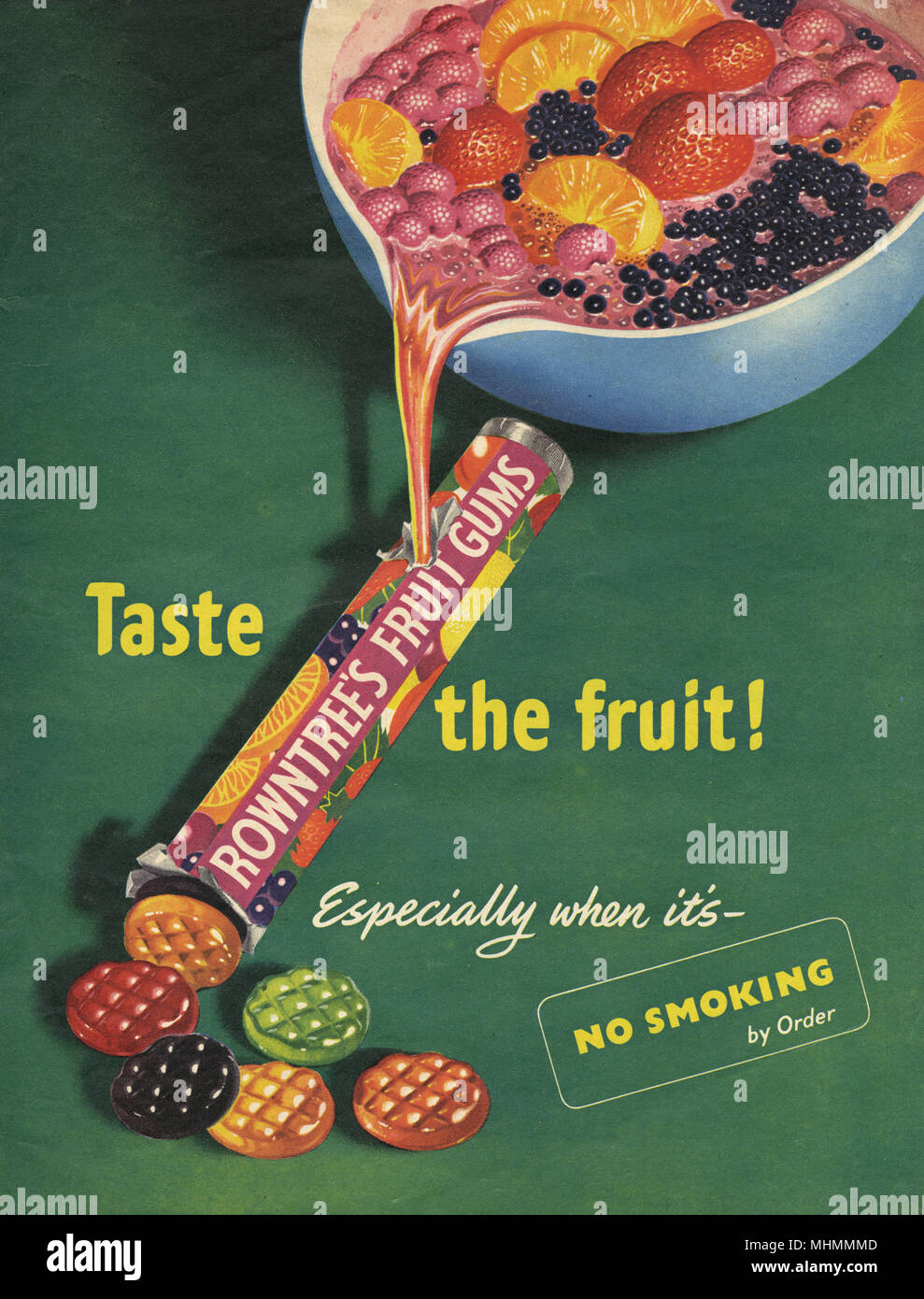 Advertisement for Rowntree's Fruit Gums sweets, according the picture, made from real fruit juice and, when advised to the stop smoking, a fruity alternative.     Date: 1953 - Stock Image