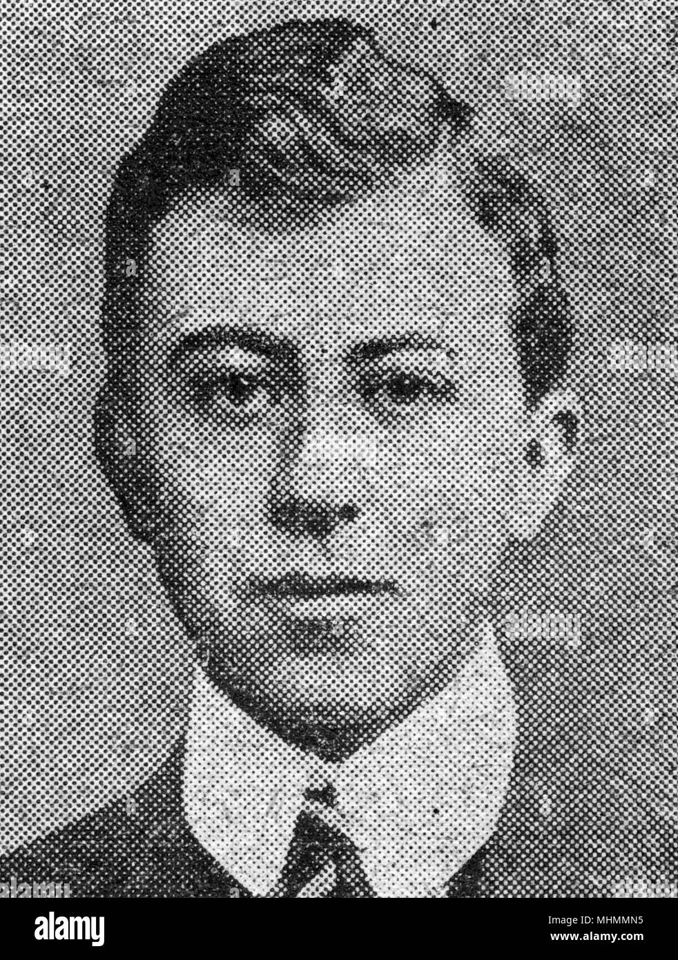 Lt George Schack-Sommer, Londoner and old Etonian, awarded the St George's Cross for valour, the Russian equivalent of the Victoria Cross, for gallant conduct while fighting with the Artisky Hussars in the Dukla Pass, Carpathians, during an engagement in spring 1915, in the First World War.     Date: 1915 - Stock Image