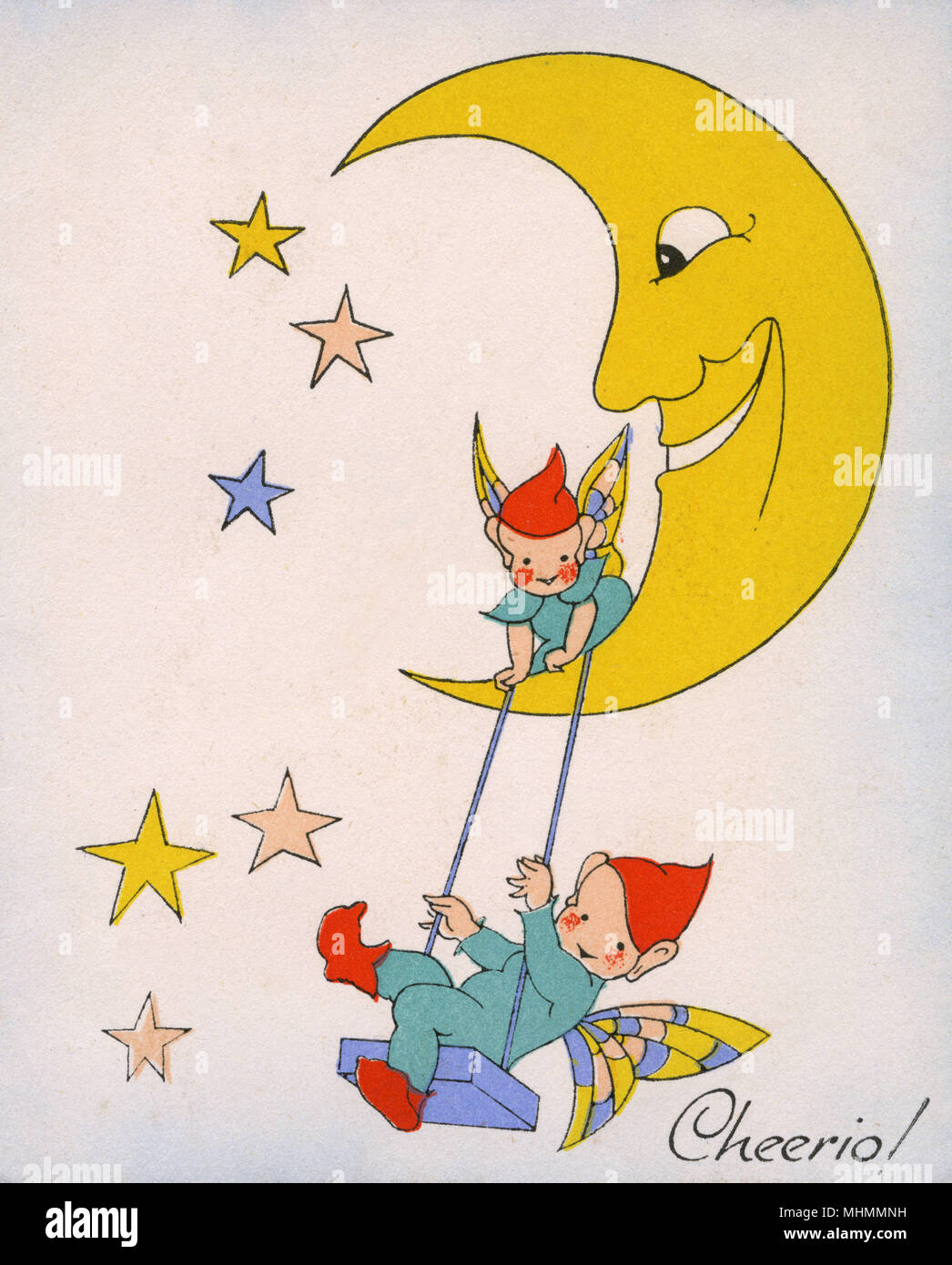 Vintage greetings card showing a crescent moon from which two cute pixies swing among the stars.     Date: c.1930 - Stock Image