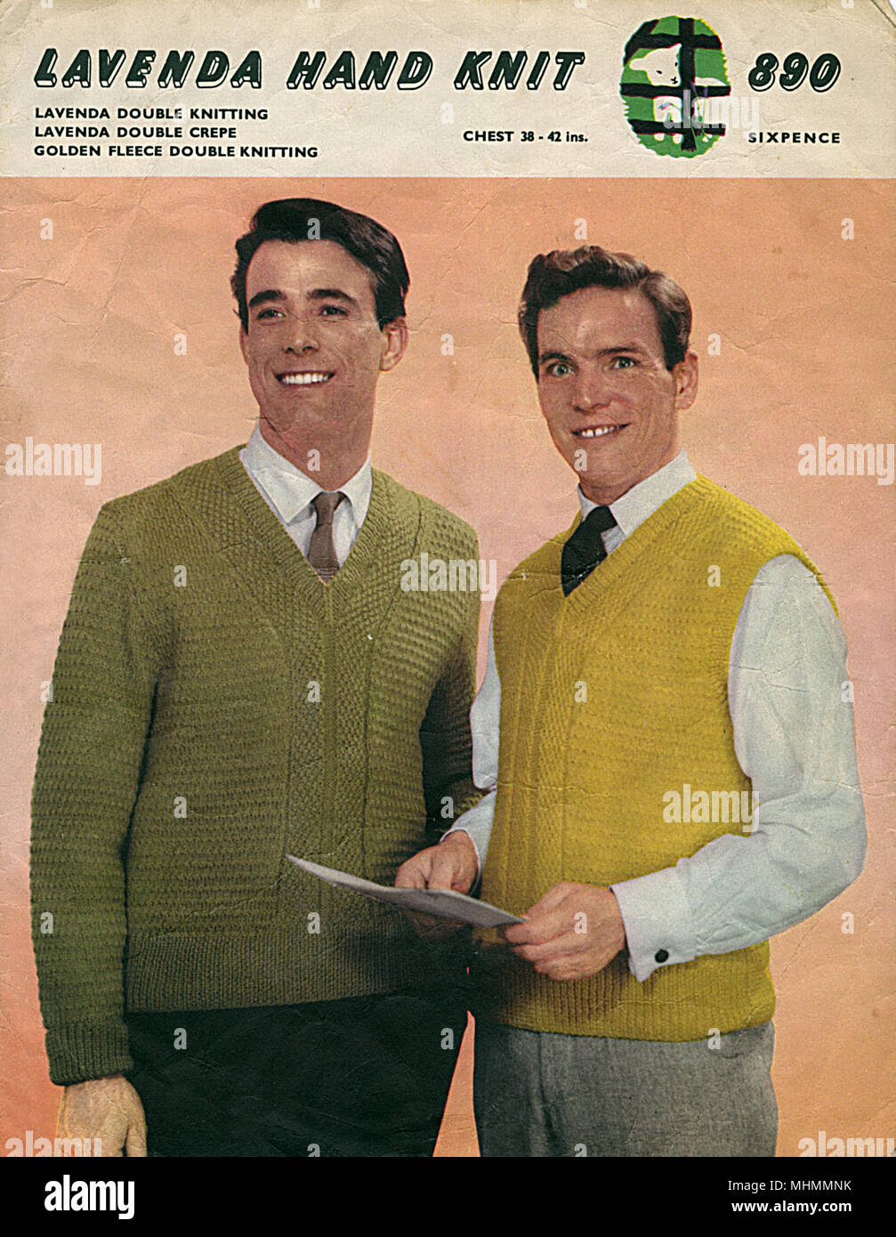 Front cover of a 1950s knitting pattern featuring two dapper chaps wearing hand knitted pullovers.     Date: c.1953 - Stock Image