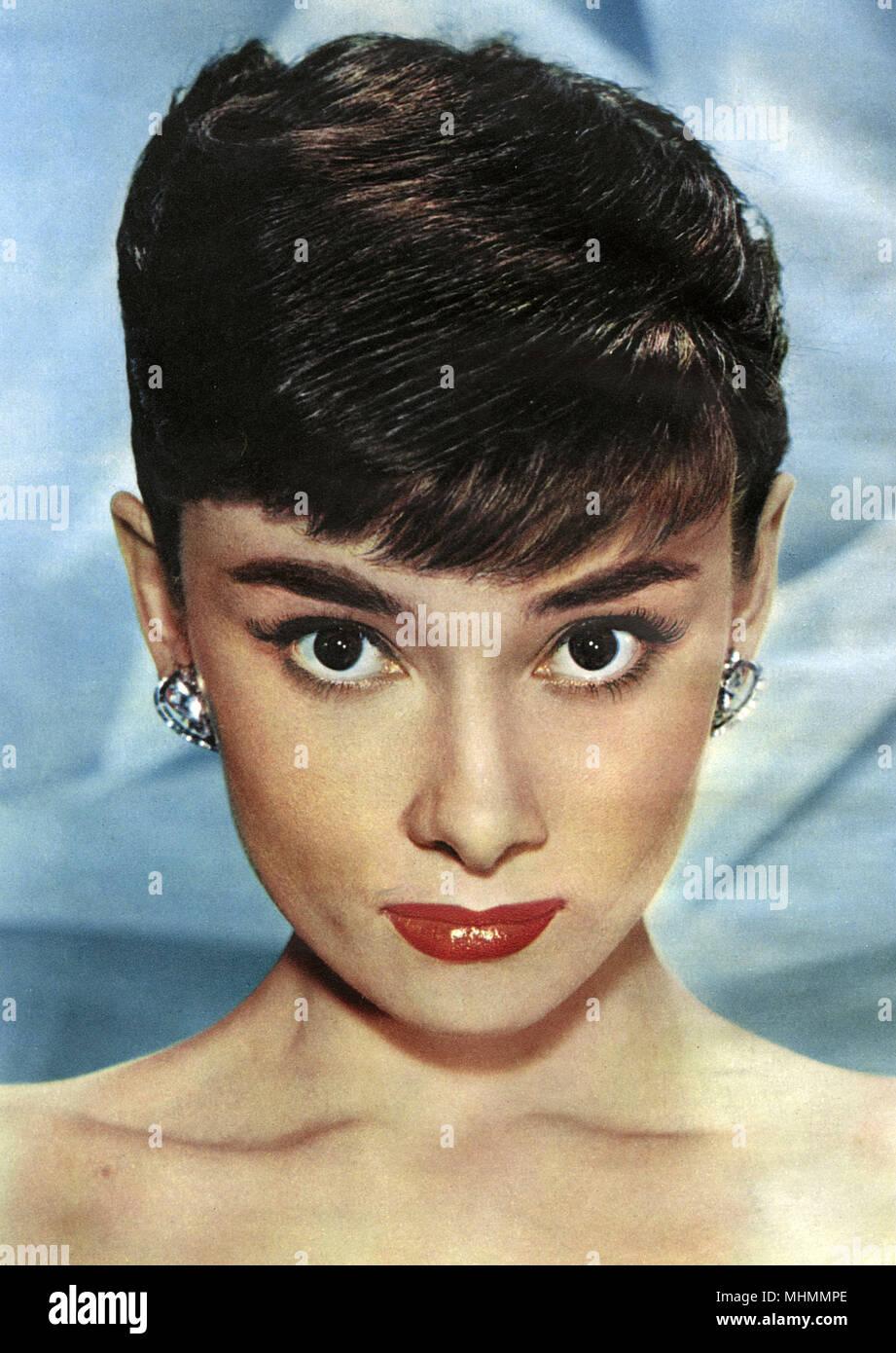 American actress Audrey Hepburn (1929-1993), Belgian-born actress of Irish- Dutch parentage, Hollywood film actress     Date: 1944-1955 - Stock Image