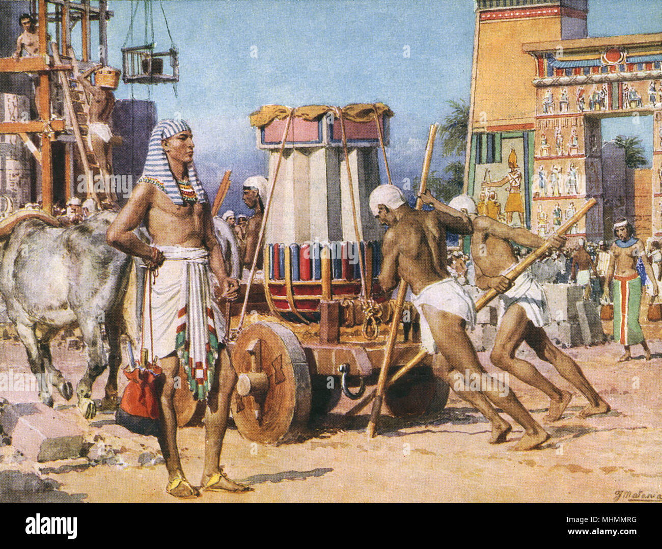 Workers building a temple or palace for a Pharaoh in Ancient
