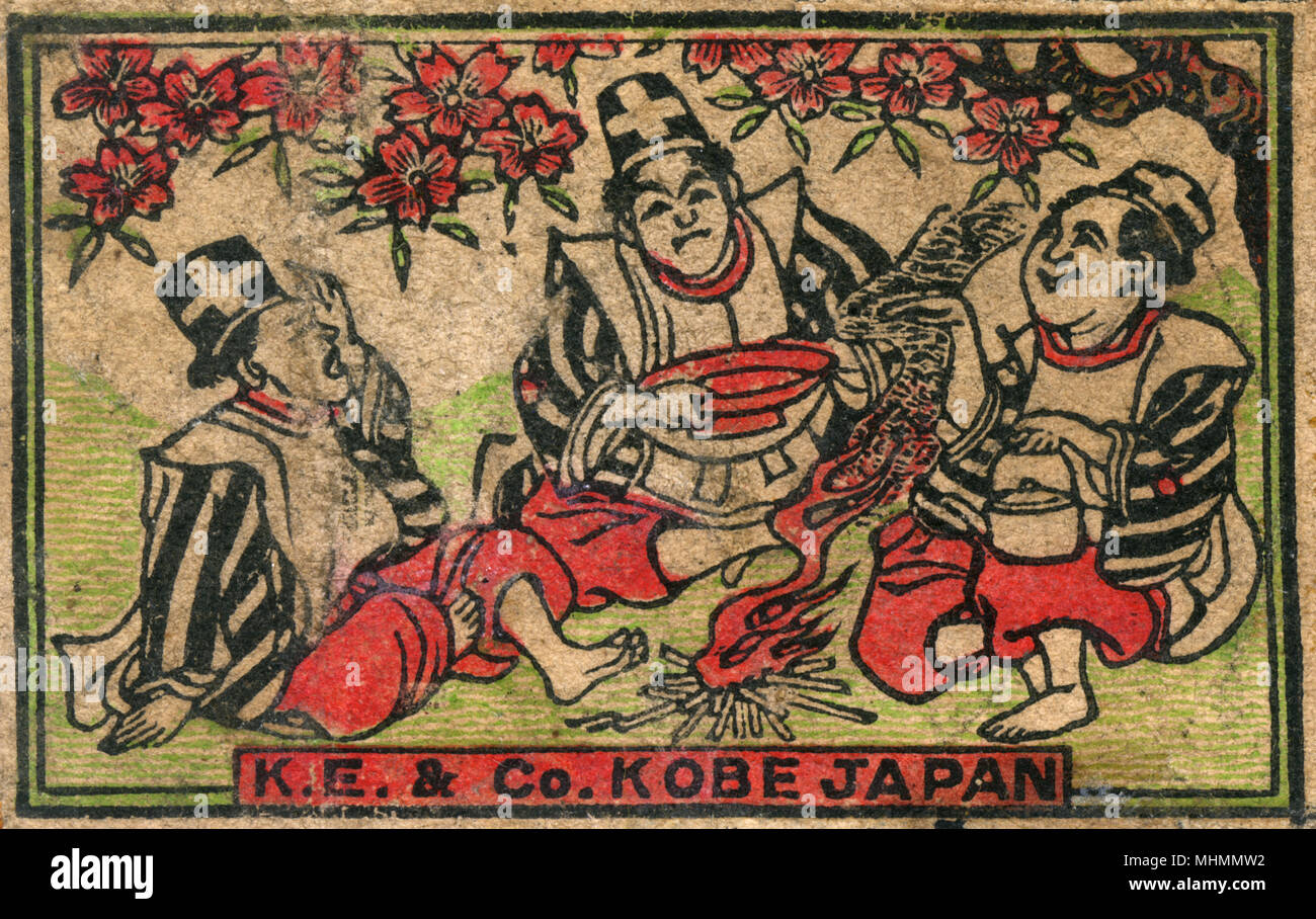 Old Japanese Matchbox label with three men sitting under sakura  cherry blossom made by KE and Co in Kobe, Japan     Date: c. 1910s - Stock Image