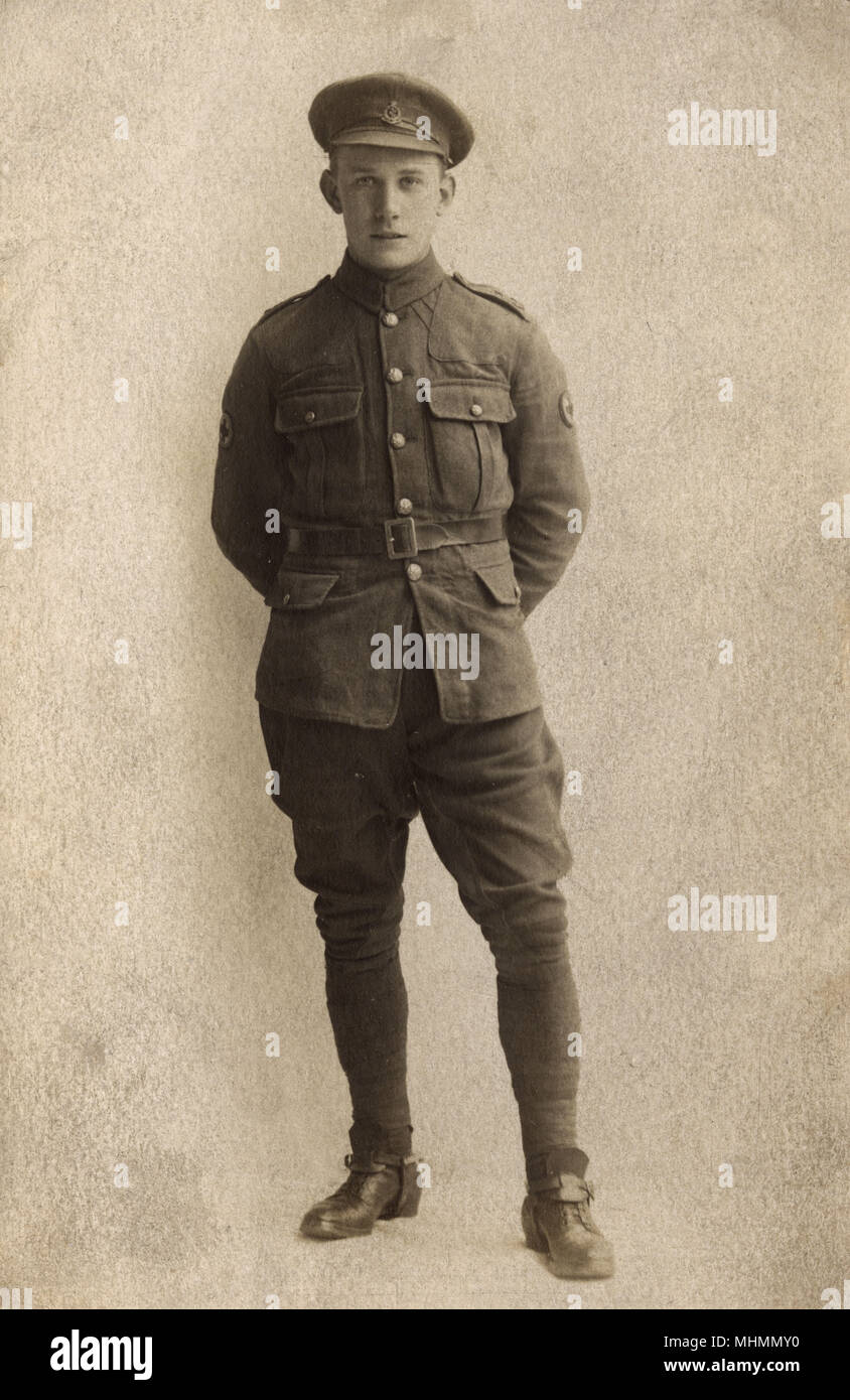 Frederick Edward Soar, a private soldier in the Royal Army Medical Corps during the First World War.       Date: c.1915 - Stock Image
