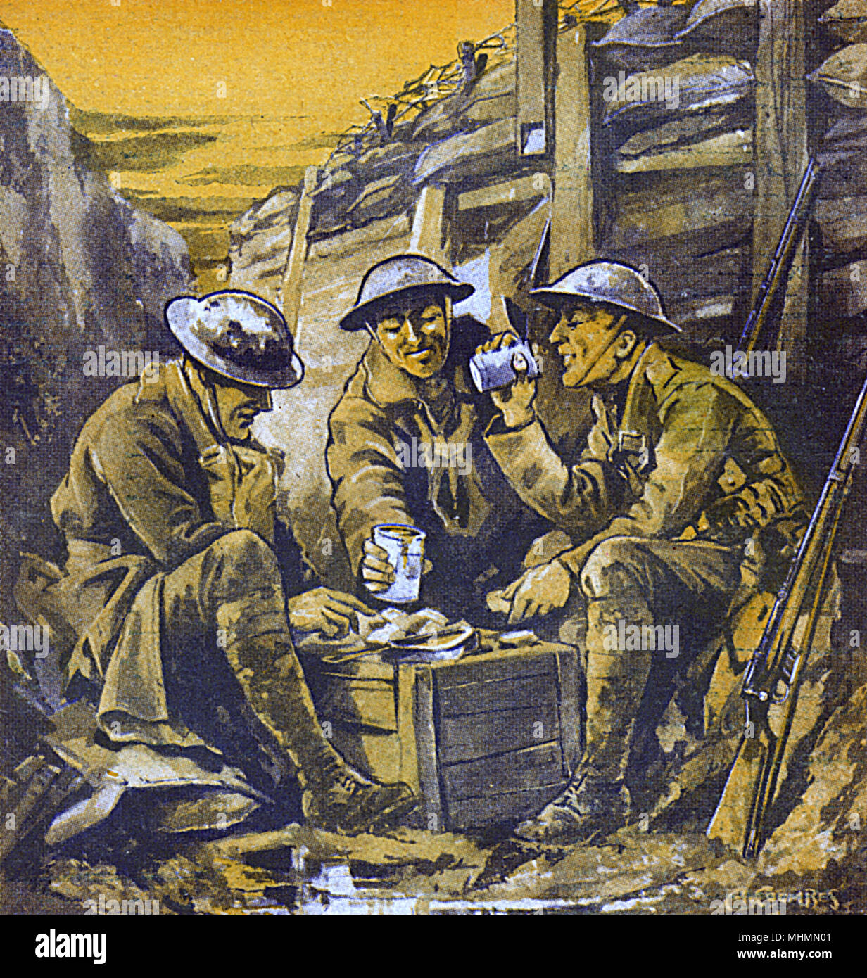 new high quality in stock good out x Three British Tommies eat a basic meal in a trench, using a ...
