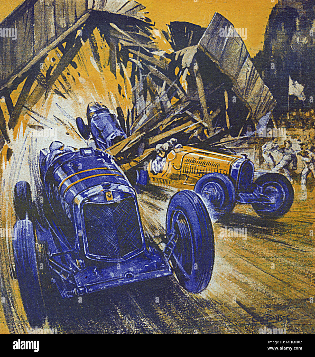 Racing cars smashing around a course but carrying on regardless.     Date: 1932 - Stock Image