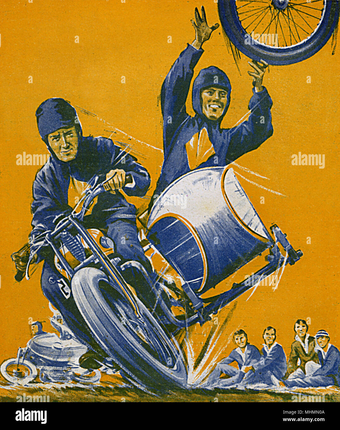 Stunt rides on a motorbike and sidecar perform one of their tricks, loosening and throwing away the sidecars wheel while continuing to ride at speed.     Date: 1932 - Stock Image